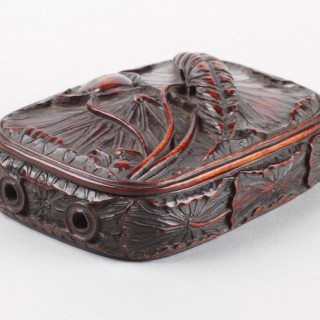Unusual Rare Japanese Lacquered Boxwood Inro