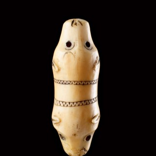 Bering Sea Eskimo Inuit Carved Walrus Ivory Double Polar Bear's Head Talismanic Attachment or Toggle
