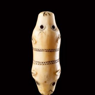 Bering Sea Eskimo Inuit Carved Walrus Ivory Double Polar Bear's Head Talismanic Attachment or Toggle