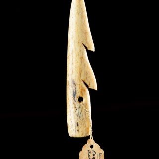 Bering Strait Eskimo Inuit Barbed Whalebone Harpoon or Spear Head Point