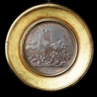 Pair of French Revolutionary Lead Medallions Commemorating the Siege of the Bastille July 14 1789
