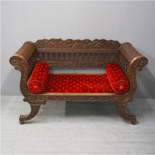Carved Oak Small Sofa from Skibo Castle