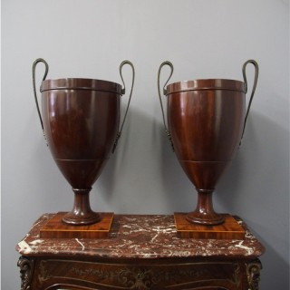 Pair of George III Mahogany Urns