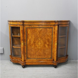 Victorian Burr Walnut and Inlaid Credenza
