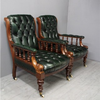 Pair of Mahogany and Leather Library Chairs