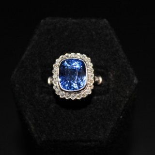 Platinum 8.10ct Natural Untreated Ceylon Sapphire & Diamond Cluster Ring, Circa 1925