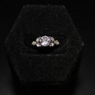 Platinum 0.45ct Diamond Foliate Solitaire Ring, Circa 1930