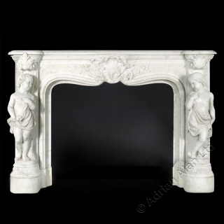 A Sculptural Carrara Marble Fireplace Carved in High-Relief