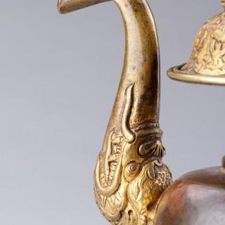 Tibetan Gilded Bronze and Copper Ritual Altar Vessel