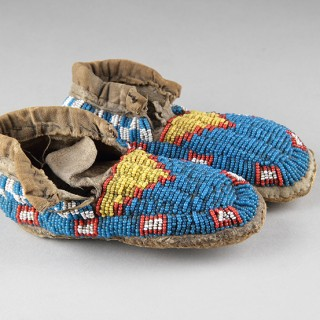 Pair of Native American Central Plains Cheyenne Child's Deer Hide Moccasins