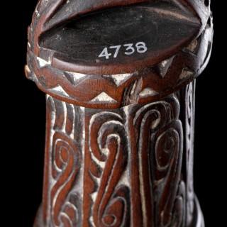Rare Papua New Guinea Trobriand Kiriwina Island Massim Carved Black Palm Betel Nut Mortar