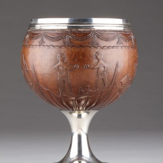 Fine Regency English Silver Mounted Sailor's Work Coconut Cup Carved with a Rare Scene of a Bare Knuckle Boxing Match