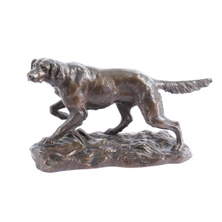 Antique Bronze Sculpture Irish Setter Dog Hunting by H. Peyrol C 19th