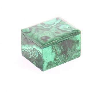 Antique Malachite Rectangular Trinket Pillbox 19th Century