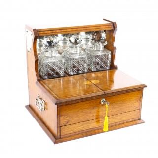 Antique Golden Oak Cased Three Crystal Decanter Tantalus C1880 19th Century