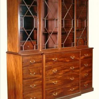 George III Period Mahogany Breakfront Secretaire Bookcase