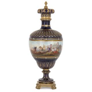 Antique Sèvres style porcelain and gilt bronze vase with marine subject