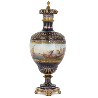 Antique Sèvres style porcelain and gilt bronze vase with marine subject