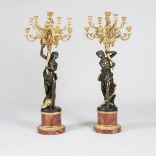 Pair of Gilt and Patinated Bronze Candelabra