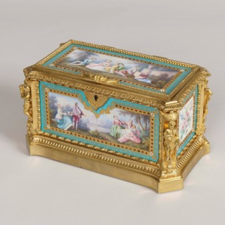 A 19th century Porcelain Jewel Casket in the Louis XVI Manner