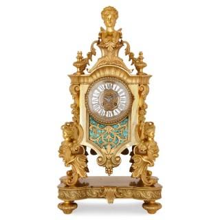 Louis XV style gilt bronze and malachite mantel clock