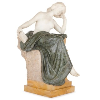 Multi-colour marble sculpture of a woman by Pittaluga
