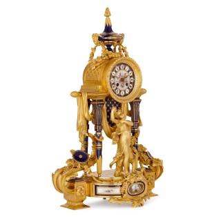 Sèvres style gilt bronze mounted porcelain clock set