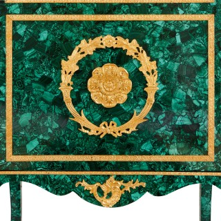 Two French malachite and gilt bronze display cabinets