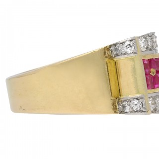 Boucheron ruby and diamond cocktail ring, French, circa 1940.