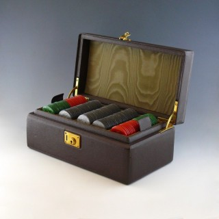 Leather Cased Gambling Chips, circa 1920