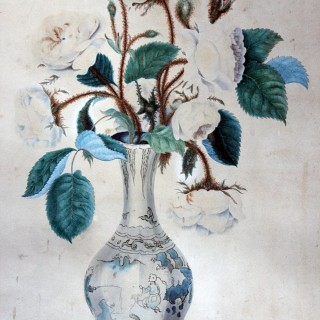 Sarah Maria Curtis (1802-1872); A Fine Botanical Watercolour Study of Roses in a China Vase Dated to 1823