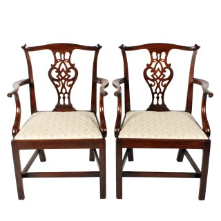 Pair of Georgian Mahogany Elbow Chairs