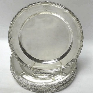 Set of 12 Victorian Silver Dinner Plates
