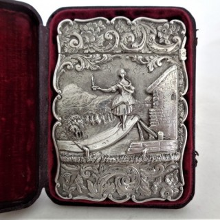 Very rare Victorian silver card case of Jenny Lind Birmingham 1848
