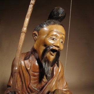 Chinese Hardwood Carving of a Fisherman