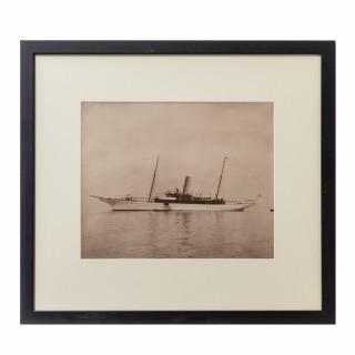 An Original Gelatin Print of Fine Gentleman Steam Yacht by Wm U Kirk