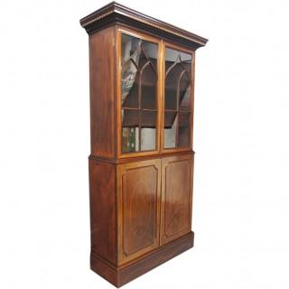 George III Inlaid Mahogany Cabinet Bookcase