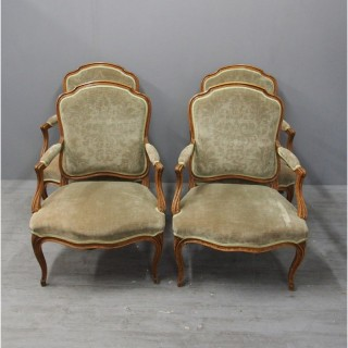Set of 4 French Louis XV Style Armchairs