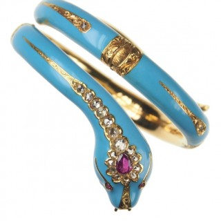 18 ct. Gold & Enamel Bangle