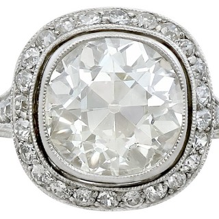 4.88ct Diamond and Platinum Halo Ring - Antique and Contemporary