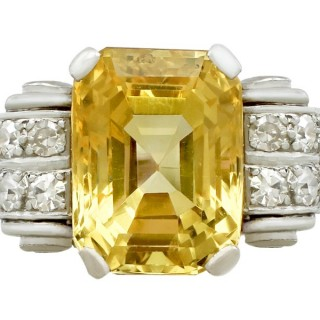 Antique 5.52ct Yellow Sapphire and 0.50ct Diamond, Platinum Dress Ring
