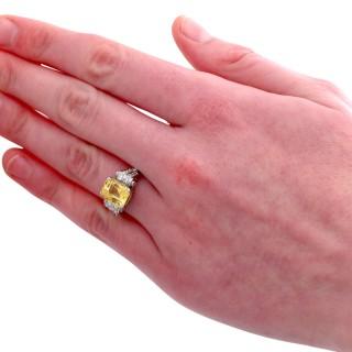 Antique 5.52ct Yellow Sapphire and 0.50ct Diamond, Platinum Dress Ring