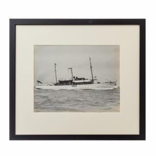 An original gelatine print of a gentleman's steam yacht