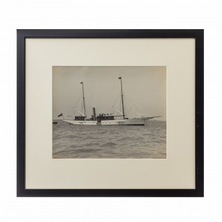 A gelatin print of a beautiful gentleman steam yacht at anchor by W Kirk