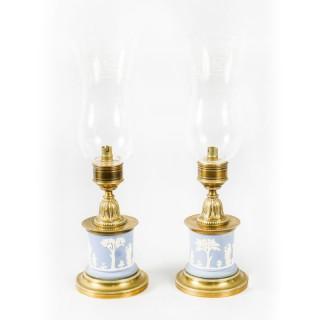 Antique Pair Ormolu & Jasperware Table Lamps Circa 1890 19th Century