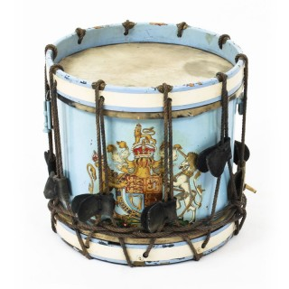 Antique Military Drum with British Royal Coat of Arms late 19th C