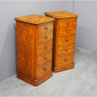 Pair of Tall Satin Birch Bedsides or Chests