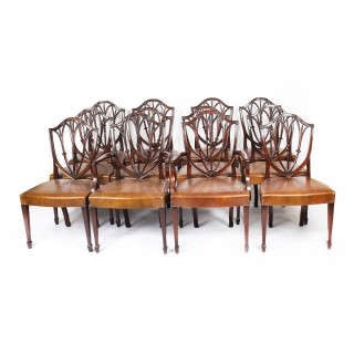 Antique Set 12 English Mahogany Hepplewhite Dining Chairs 19th Century