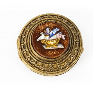 Antique Italianate Micromosaic Round Ormolu Pill Box The Pliny's Doves 19th C
