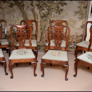 A fine set of eight George II period Walnut Dining Chairs
